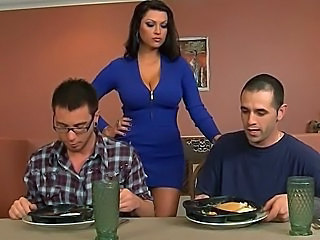 Brunette Kitchen MILF Mom Pornstar Silicone Tits Threesome