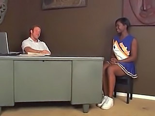 Amateur Cheerleader Cute Ebony Teen