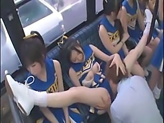 Amateur Bus Cheerleader Japanees Orgie