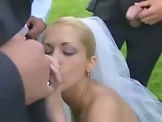 Blonde Blowjob Bride Gangbang Outdoor