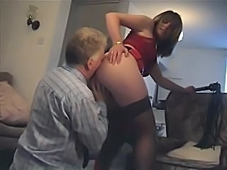 British Brunette Licking MILF Stockings