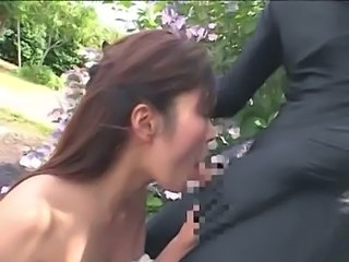 Blowjob Funny Handjob Japanese MILF Outdoor