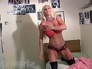 Big Tits Blonde Lingerie MILF Muscled Pornstar Stockings