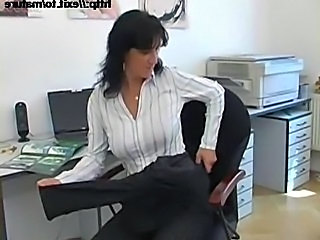 Big Tits Brunette Masturbating Mature Office
