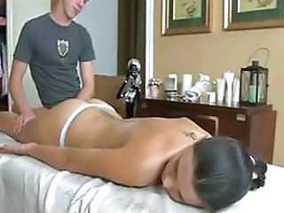 Brunette Cute Massage Tattoo Teen