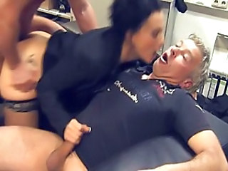 Brunette German Hardcore MILF Stockings Threesome