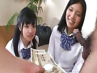 Asian Cash Cute Student Threesome