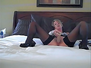 Blonde Cute Masturbating Stockings Teen Toy