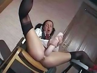 Brunette Cute Dildo Masturbating Pigtail Stockings Student Teacher