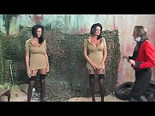 Army Babe Big Tits British Brunette European Threesome Twins