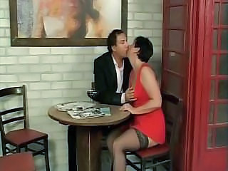 Brunette Kissing Kitchen Mature Stockings