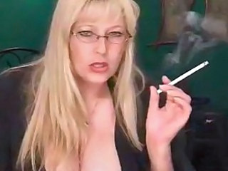 Amazing Big Tits Blonde Glasses Mature MILF Smoking
