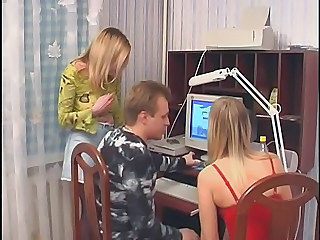 Blonde Cute Daddy Russian Threesome Twins