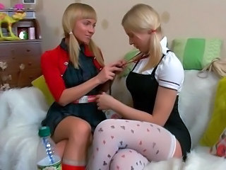Blonde Lesbian Pigtail Stockings Twins Young