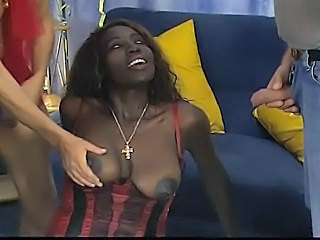 Ebony Interracial MILF Natural Threesome