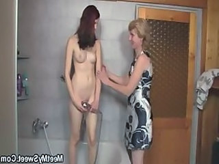 Bathroom Daughter Lesbian Mom Old and Young Teen Young
