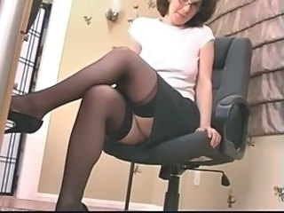 Dildo Glasses Legs MILF Secretary Skirt Stockings