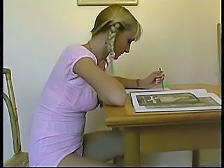 Blonde Pigtail School Student Teacher Upskirt