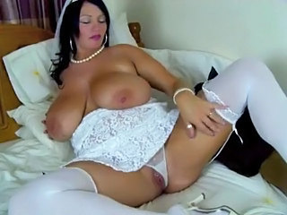 Amazing BBW Big Tits Bride MILF Natural Panty SaggyTits Stockings