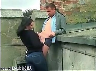 British Clothed European Handjob Jeans Outdoor