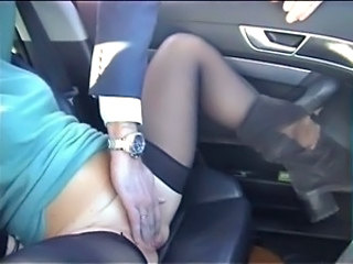 Amateur Car Masturbating Stockings