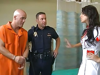 Brunette MILF Nurse Pornstar Prison Uniform