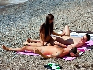 Beach Cute Handjob Outdoor Teen Threesome