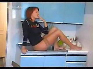 Drunk Kitchen Redhead Smoking Stockings