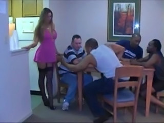 Amazing Gangbang Interracial MILF Stockings Wife