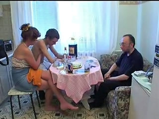 Amateur Daddy Family Homemade Kitchen Mature Mom Old and Young Russian