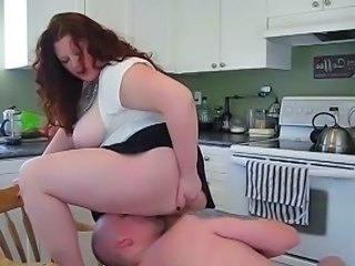 BBW Big Tits Facesitting Kitchen Licking MILF Mom Natural Redhead