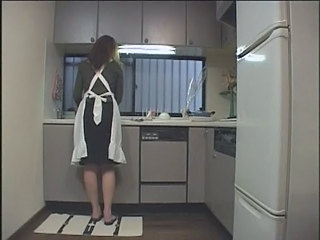 Amateur Asian Japanese Kitchen Uniform Wife