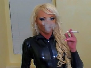 Blonde Fetish Latex MILF Smoking