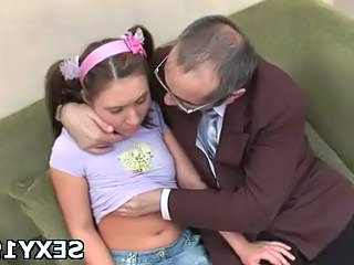 Brunette Daddy Daughter Old and Young Pigtail Skinny