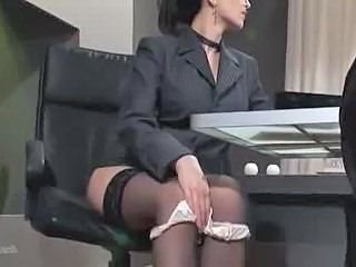Brunette Office Panty Secretary Stockings