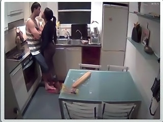 Brunette  Kitchen Voyeur