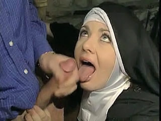 Cumshot Hairy MILF Nun Swallow Uniform Vintage