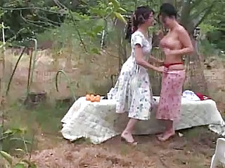 Daughter Lesbian Mature Mom Old and Young Outdoor
