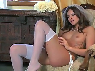 Amazing Bride Cute Masturbating Solo Stockings Teen