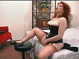 Amazing Corset Masturbating MILF Redhead Stockings