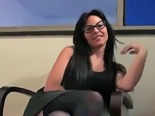 Amazing Brunette Glasses MILF Stockings