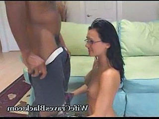 Amateur Brunette Glasses Interracial MILF Wife