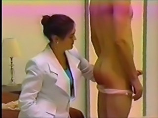 Man relative to panties spanked by businesswoman