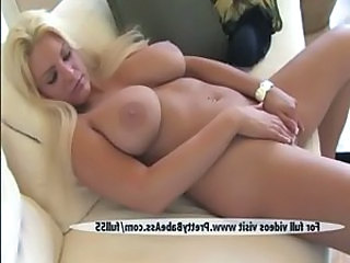 Super despondent blonde shows breasts together with pussy