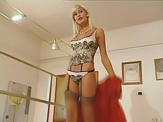Babe Blonde Cumshot Lingerie Stockings