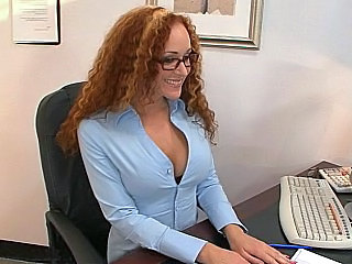 Amazing Glasses MILF Office Redhead