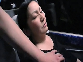 Sleepy Milfs groped increased by undressed by a pervert in a crowded night bus.