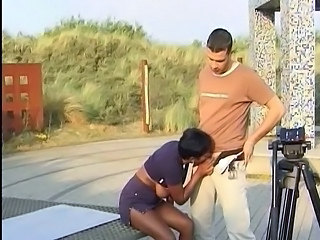 Blowjob Clothed Ebony Interracial MILF Outdoor Public