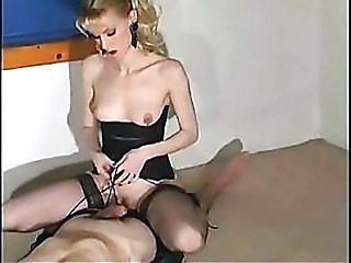 Blonde Corset Facesitting Handjob MILF Stockings