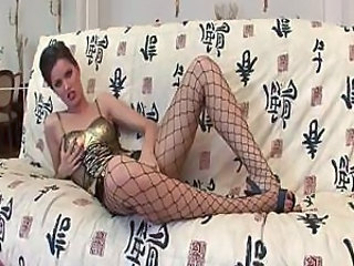 Brunette Fishnet Masturbating MILF